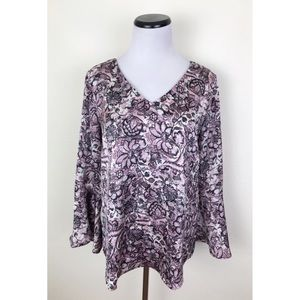 Roz & Ali Floral Bell Sleeve V Neck Blouse Small